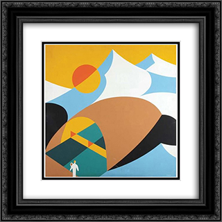 Abstract Design of a Mountanous Landscape 20x20 Black or Gold Ornate Framed and Double Matted Art Print by John Vassos