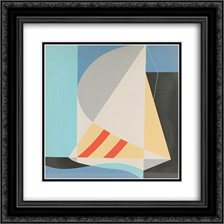 Abstract Sailboat 20x20 Black or Gold Ornate Framed and Double Matted Art Print by John Vassos