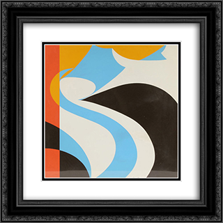Modern Abstract 20x20 Black or Gold Ornate Framed and Double Matted Art Print by John Vassos
