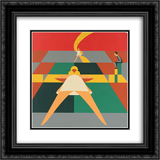 Tennis Match 20x20 Black or Gold Ornate Framed and Double Matted Art Print by John Vassos