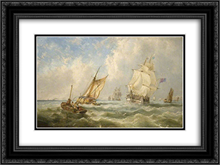 A Breezy Evening off the Mouth of the Mersey 24x18 Black or Gold Ornate Framed and Double Matted Art Print by John Wilson Carmichael