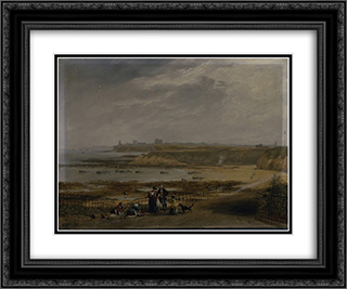 Cullercoats looking towards Tynemouth - Ebb tide 24x20 Black or Gold Ornate Framed and Double Matted Art Print by John Wilson Carmichael