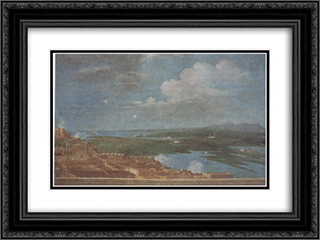 Clouds over a coastal Puerto Rican town 24x18 Black or Gold Ornate Framed and Double Matted Art Print by Jose Campeche