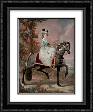 Dama a Caballo 20x24 Black or Gold Ornate Framed and Double Matted Art Print by Jose Campeche