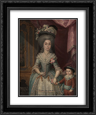 Dona Maria Catalina de Urrutia 20x24 Black or Gold Ornate Framed and Double Matted Art Print by Jose Campeche