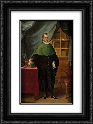 Retrato de un letrado eclesiastico 18x24 Black or Gold Ornate Framed and Double Matted Art Print by Jose Campeche