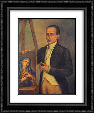 Self-portrait 20x24 Black or Gold Ornate Framed and Double Matted Art Print by Jose Campeche