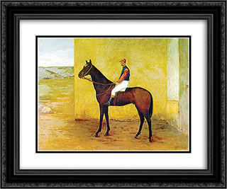 Jockey and horse 24x20 Black or Gold Ornate Framed and Double Matted Art Print by Jose Ferraz de Almeida Junior