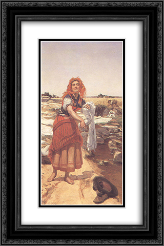 Clara 16x24 Black or Gold Ornate Framed and Double Matted Art Print by Jose Malhoa