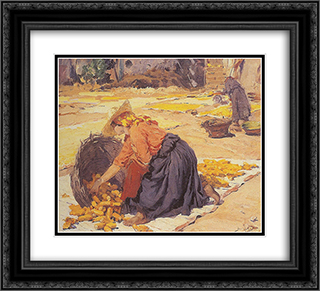 Corn in the sun 22x20 Black or Gold Ornate Framed and Double Matted Art Print by Jose Malhoa
