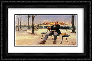 Gozando os rendimentos 24x16 Black or Gold Ornate Framed and Double Matted Art Print by Jose Malhoa