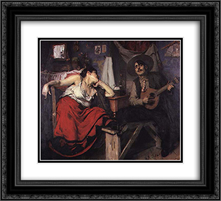 O Fado 22x20 Black or Gold Ornate Framed and Double Matted Art Print by Jose Malhoa