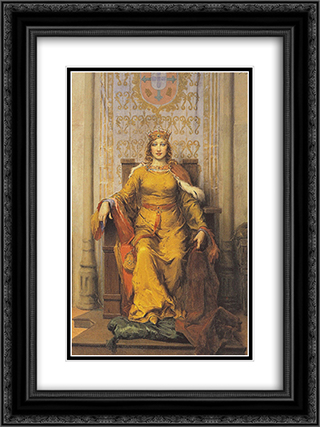 Portrait of Queen D Leonor 18x24 Black or Gold Ornate Framed and Double Matted Art Print by Jose Malhoa