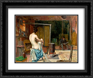 The Artist's Studio 24x20 Black or Gold Ornate Framed and Double Matted Art Print by Jose Malhoa