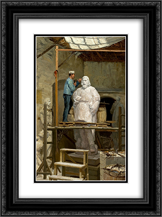 The Atelier of the Sculptor Simĵes de Almeida 18x24 Black or Gold Ornate Framed and Double Matted Art Print by Jose Malhoa