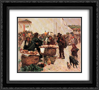 The bakers, a market in Figueiro 22x20 Black or Gold Ornate Framed and Double Matted Art Print by Jose Malhoa