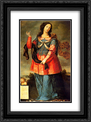 Abisag 18x24 Black or Gold Ornate Framed and Double Matted Art Print by Josefa de Obidos