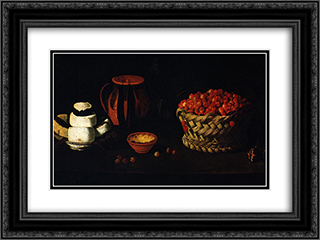 Cesta com Cerejas, Queijos e Barros 24x18 Black or Gold Ornate Framed and Double Matted Art Print by Josefa de Obidos