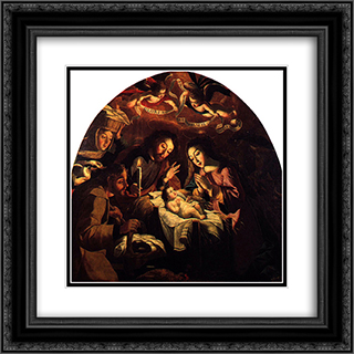 Nativity of Jesus 20x20 Black or Gold Ornate Framed and Double Matted Art Print by Josefa de Obidos