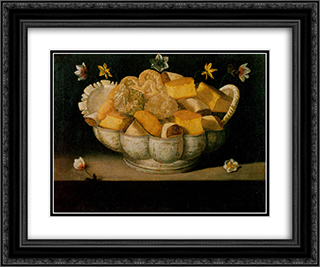 Natureza morta 24x20 Black or Gold Ornate Framed and Double Matted Art Print by Josefa de Obidos