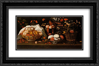 Natureza morta - Doces e Flores 24x16 Black or Gold Ornate Framed and Double Matted Art Print by Josefa de Obidos