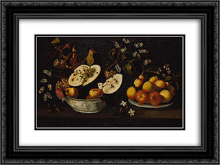 Natureza morta com frutos e flores 24x18 Black or Gold Ornate Framed and Double Matted Art Print by Josefa de Obidos