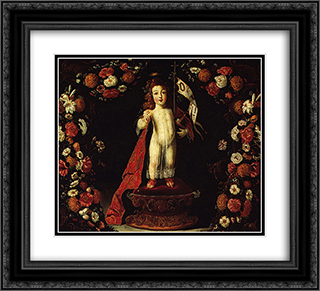 O Menino Jesus Salvador do Mundo 22x20 Black or Gold Ornate Framed and Double Matted Art Print by Josefa de Obidos