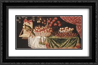 Pears and marasca cherries in a basket 24x16 Black or Gold Ornate Framed and Double Matted Art Print by Josefa de Obidos