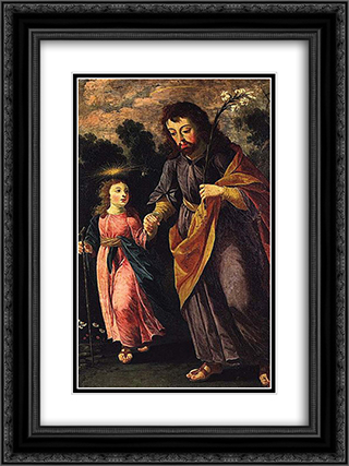 SÆ'o Jose e o Menino 18x24 Black or Gold Ornate Framed and Double Matted Art Print by Josefa de Obidos