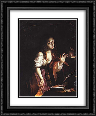 St. Mary Magdalene 20x24 Black or Gold Ornate Framed and Double Matted Art Print by Josefa de Obidos