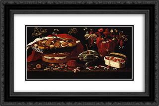 Still life 24x16 Black or Gold Ornate Framed and Double Matted Art Print by Josefa de Obidos