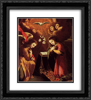 The Annunciation 20x22 Black or Gold Ornate Framed and Double Matted Art Print by Josefa de Obidos