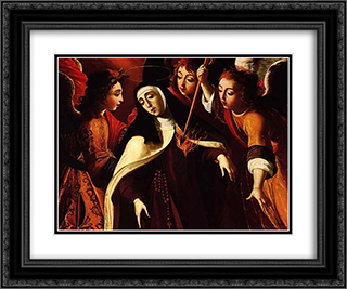 TransverberacÆ'o de Santa Teresa 24x20 Black or Gold Ornate Framed and Double Matted Art Print by Josefa de Obidos