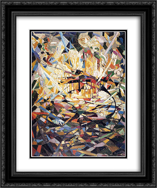 Battle of Lights, Coney Island 20x24 Black or Gold Ornate Framed and Double Matted Art Print by Joseph Stella
