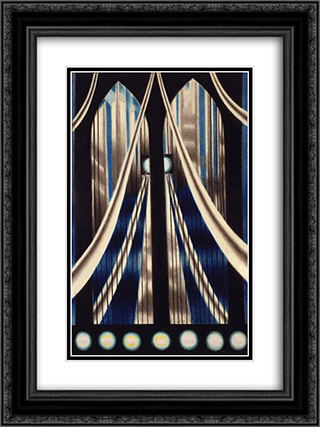 Bridge 18x24 Black or Gold Ornate Framed and Double Matted Art Print by Joseph Stella