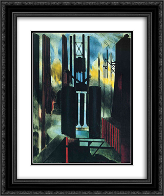 Factories 20x24 Black or Gold Ornate Framed and Double Matted Art Print by Joseph Stella