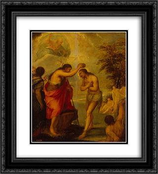 Baptism of Christ 20x22 Black or Gold Ornate Framed and Double Matted Art Print by Juan Carreno de Miranda