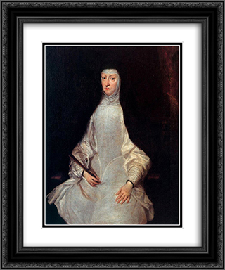 Portrait of Mariana of Austria 20x24 Black or Gold Ornate Framed and Double Matted Art Print by Juan Carreno de Miranda