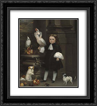 Portrait of the Dwarf Michol 20x22 Black or Gold Ornate Framed and Double Matted Art Print by Juan Carreno de Miranda