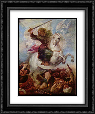 Santiago en la batalla de Clavijo 20x24 Black or Gold Ornate Framed and Double Matted Art Print by Juan Carreno de Miranda