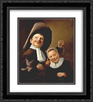 A Boy and a Girl with a Cat and an Eel 20x22 Black or Gold Ornate Framed and Double Matted Art Print by Judith Leyster