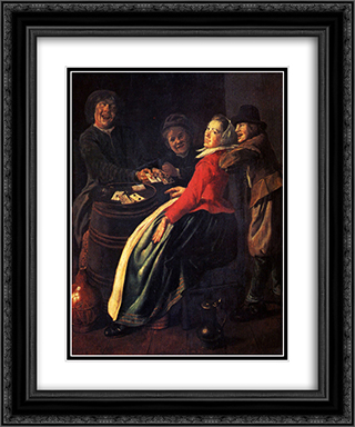 A Game of Cards 20x24 Black or Gold Ornate Framed and Double Matted Art Print by Judith Leyster