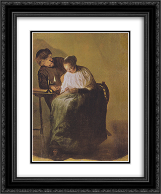 A man offers a young girl money 20x24 Black or Gold Ornate Framed and Double Matted Art Print by Judith Leyster