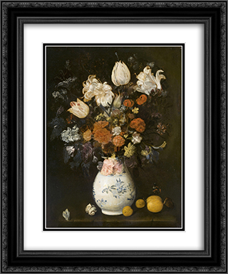 Flowers in a vase 20x24 Black or Gold Ornate Framed and Double Matted Art Print by Judith Leyster