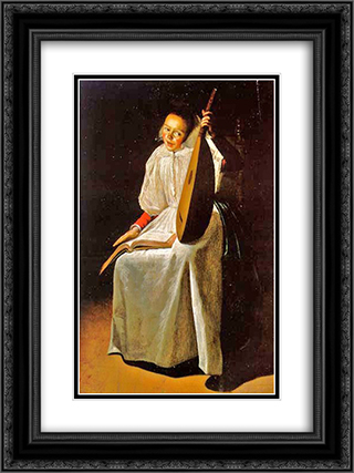 Girl with a Lute 18x24 Black or Gold Ornate Framed and Double Matted Art Print by Judith Leyster