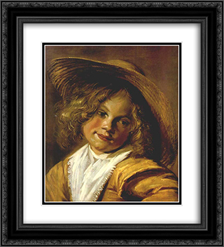 Girl with a Straw Hat 20x22 Black or Gold Ornate Framed and Double Matted Art Print by Judith Leyster
