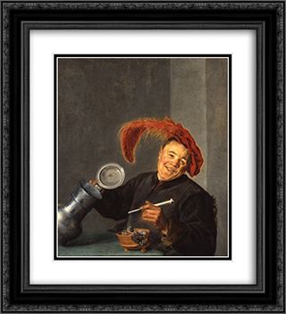 Jolly Toper 20x22 Black or Gold Ornate Framed and Double Matted Art Print by Judith Leyster