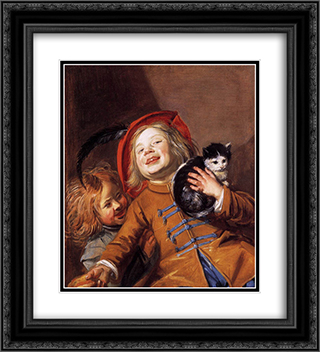 Laughing Children with a Cat 20x22 Black or Gold Ornate Framed and Double Matted Art Print by Judith Leyster