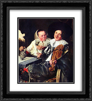 Merry Company 20x22 Black or Gold Ornate Framed and Double Matted Art Print by Judith Leyster