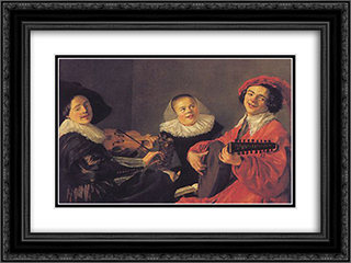 The Concert 24x18 Black or Gold Ornate Framed and Double Matted Art Print by Judith Leyster